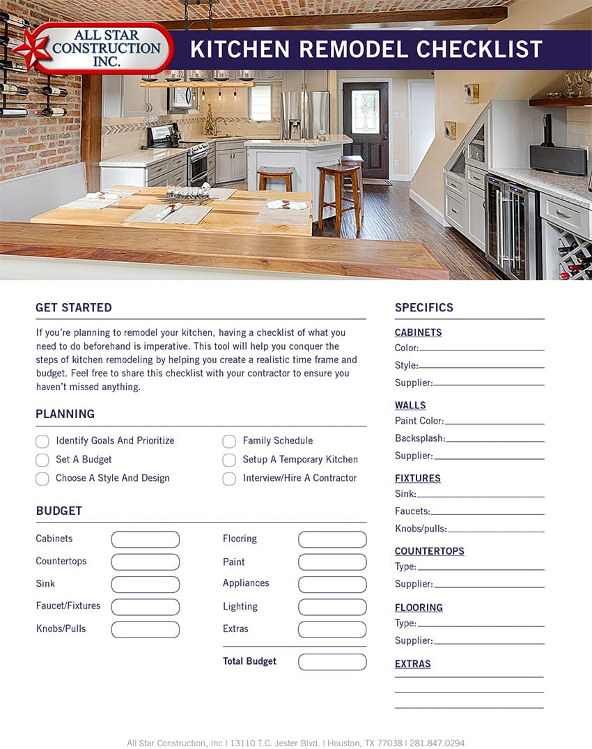 2017 Kitchen Remodel Checklist - All Star Construction Inc.