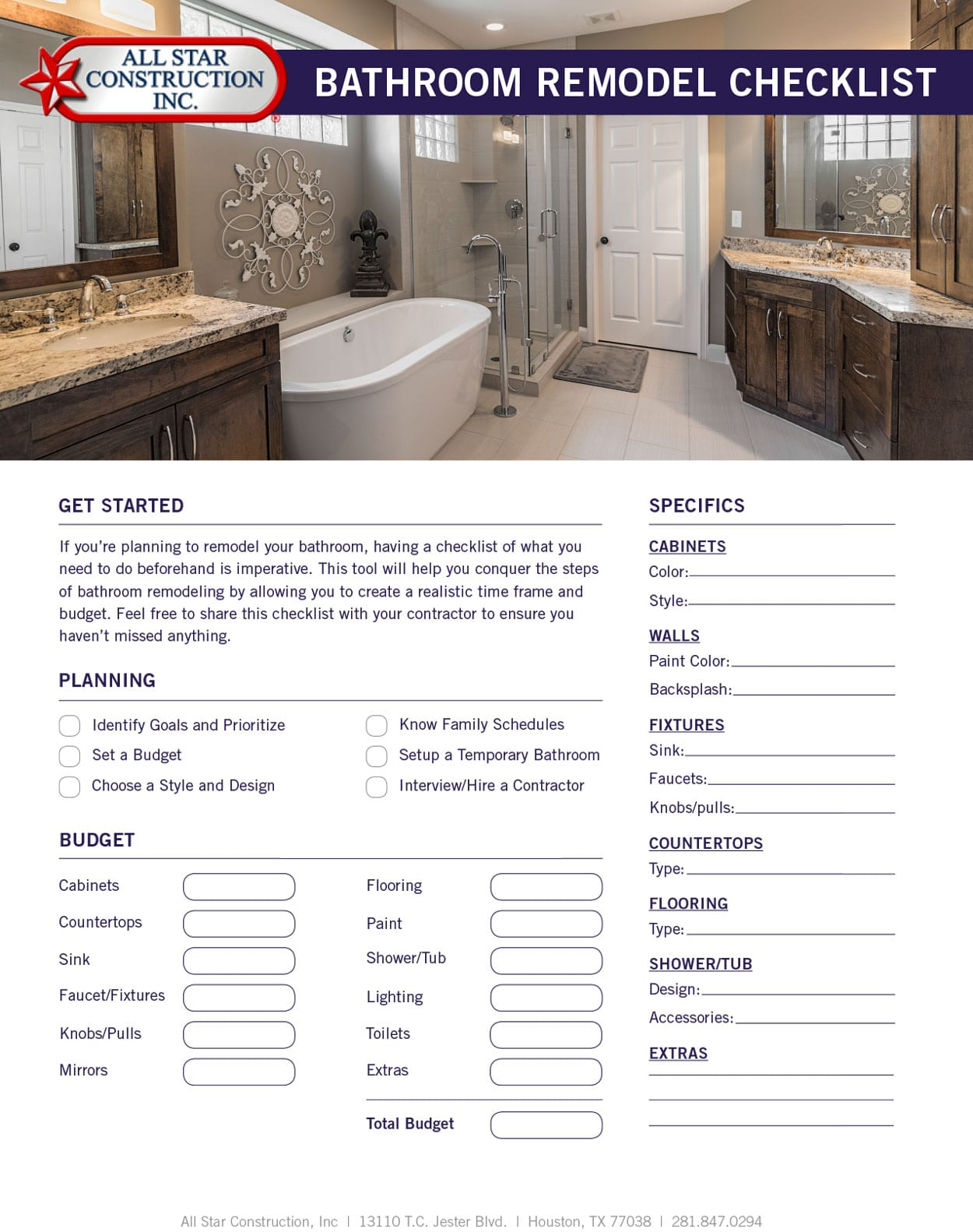 bathroom remodeling checklist. Interesting Checklist 2017 Bathroom Remodel Checklist  All Star Construction Inc Remodeling  Houston Inside C