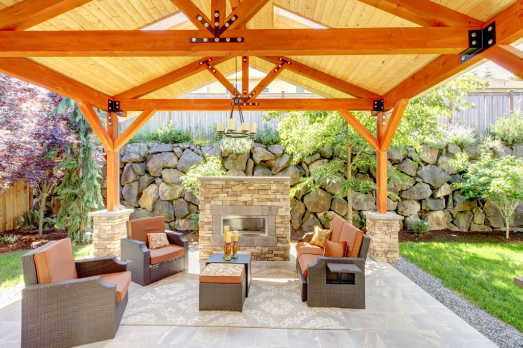 covered patio with fireplace patio furniture and lighting - Covered Patio