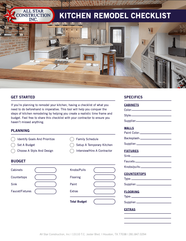 2019 Kitchen Remodeling Checklist All Star Construction Inc